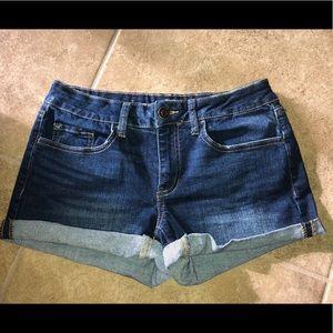 SO shortie jean shorts dark wash rolled cuff  7